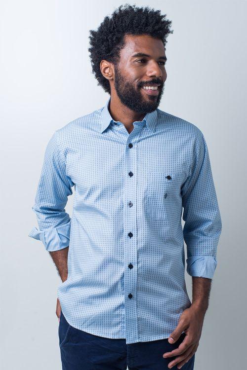 Camisa casual masculina tradicional algodão fio 40 azul claro f01867a
