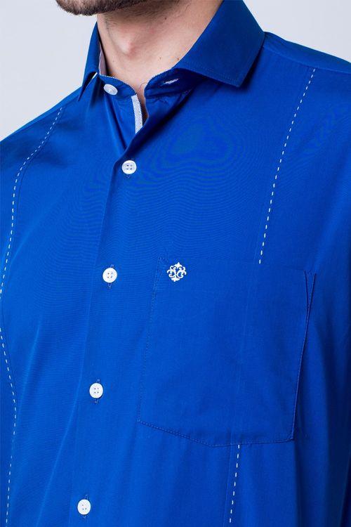 Camisa casual masculina tradicional algodão fio 60 azul f01145a