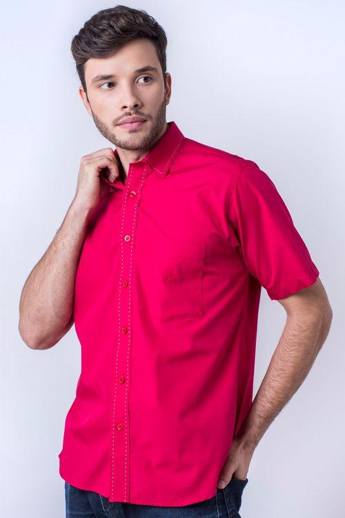 Camisa casual masculina tradicional algodão fio 60 vermelho f01272a