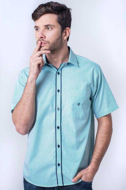 Camisa casual masculina tradicional algodão fio 60 verde f01277a