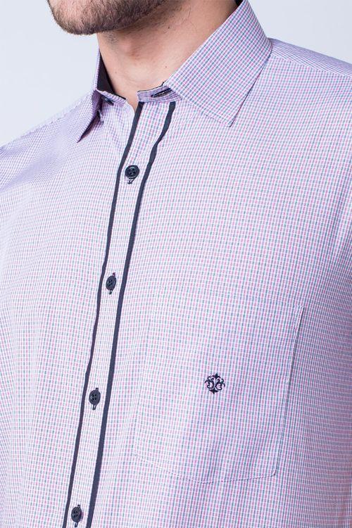Camisa casual masculina tradicional algodão fio 50 vermelho f01385a