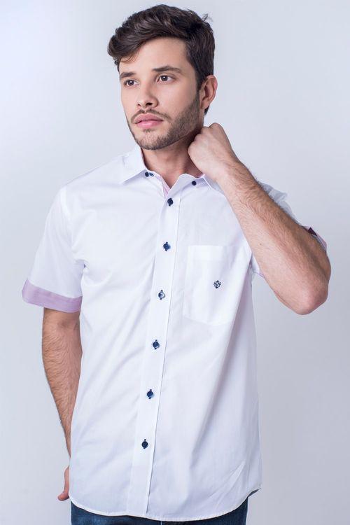 Camisa casual masculina tradicional algodão fio 50 branco f01425a
