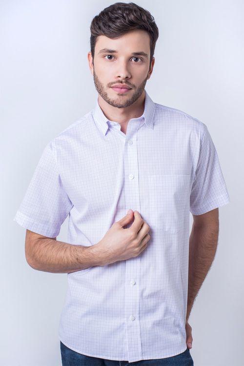 Camisa casual masculina tradicional algodão fio 40 lilás f05527a