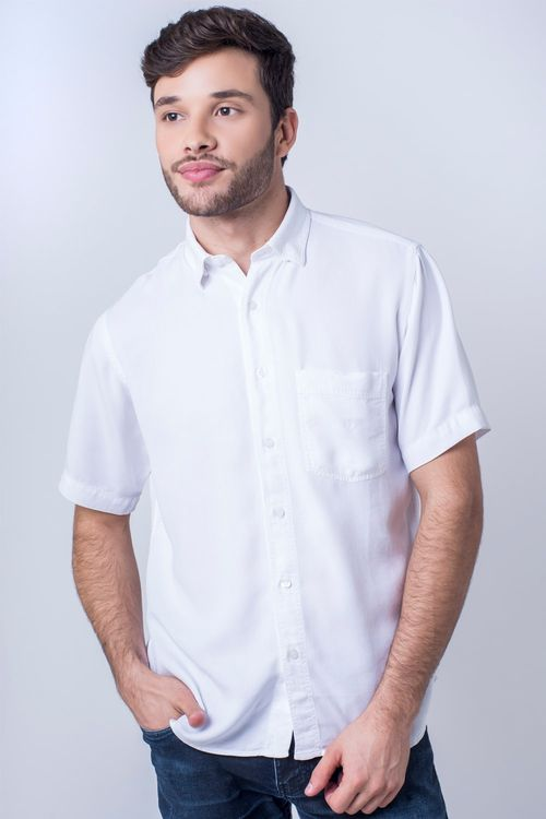 Camisa casual masculina tradicional tencel branco f06020a