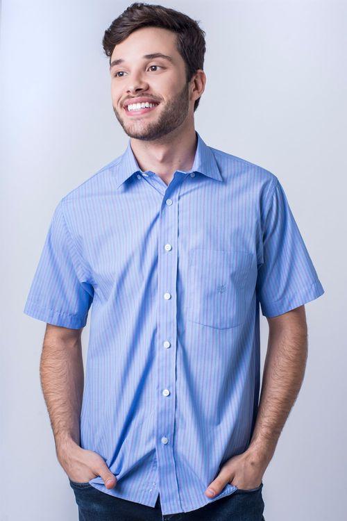 Camisa casual masculina tradicional algodão fio 80 azul médio f06021a