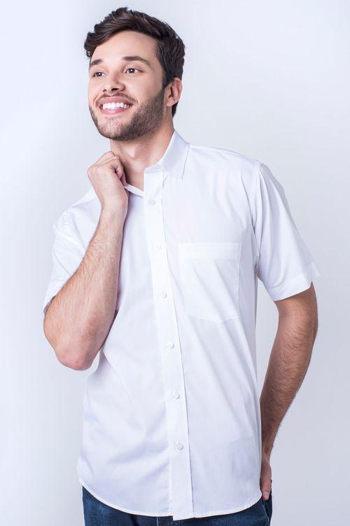 Camisa casual masculina tradicional algodão fio 60 branco r03290a