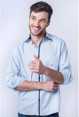 Camisa casual masculina tradicional algodão fio 50 azul claro f01176a