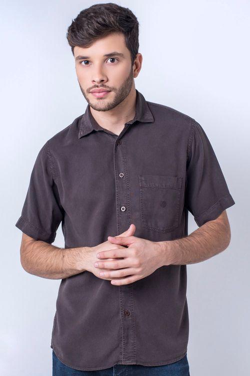 Camisa casual masculina tradicional tencel marrom f06020a