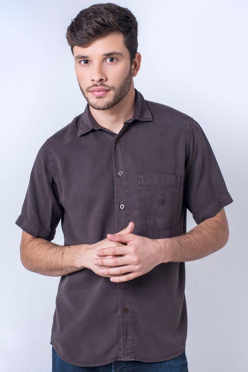 Camisa-casual-masculina-tradicional-tencel-marrom-f06020a-frente
