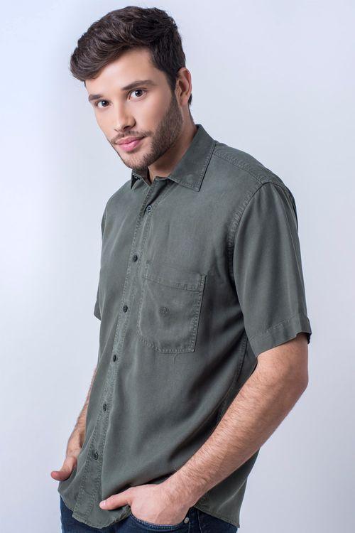 Camisa casual masculina tradicional tencel verde escuro f06020a