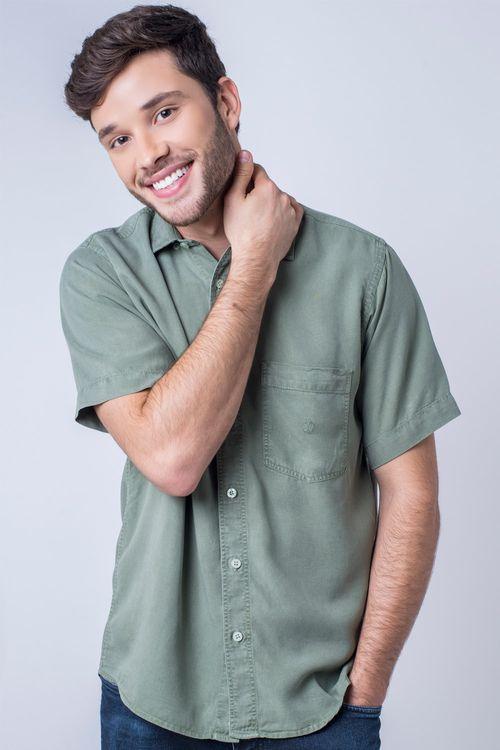 Camisa casual masculina tradicional tencel verde claro f06020a