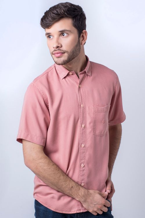 Camisa casual masculina tradicional tencel salmão f06020a