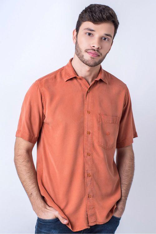 Camisa casual masculina tradicional tencel laranja f06020a