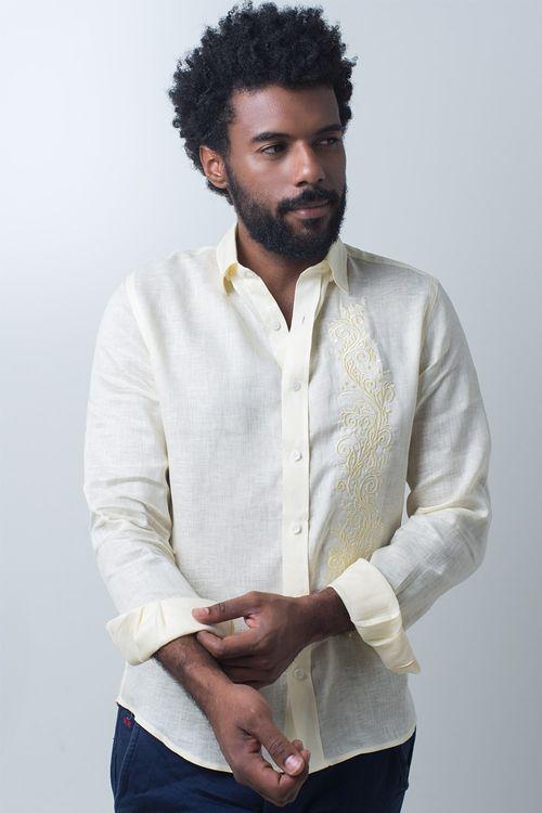 Camisa casual masculina slim cambraia de linho amarelo f01917s
