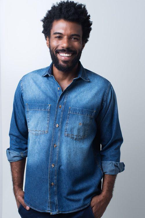 Camisa casual masculina tradicional jeans azul f01818a172