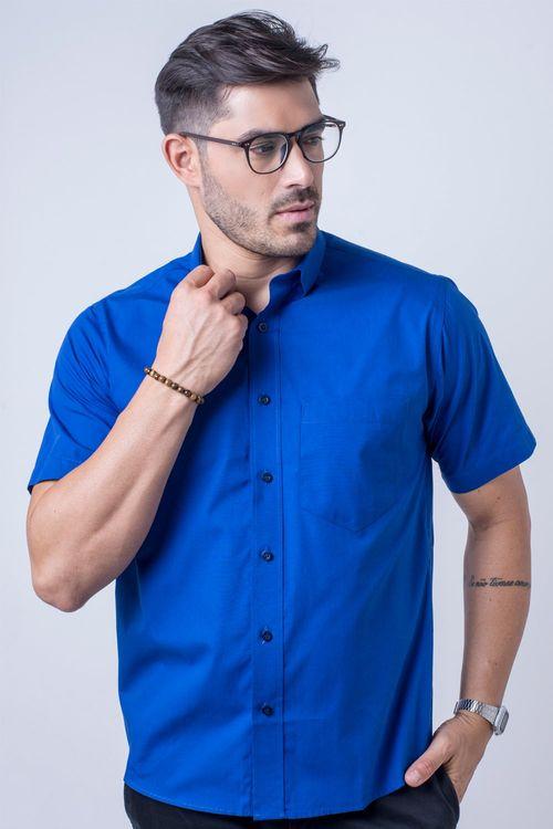 Camisa básica masculina tradicional algodão fio 40 azul f09903a