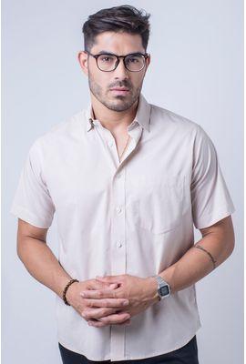 Camisa básica masculina tradicional algodão fio 40 bege r09903a
