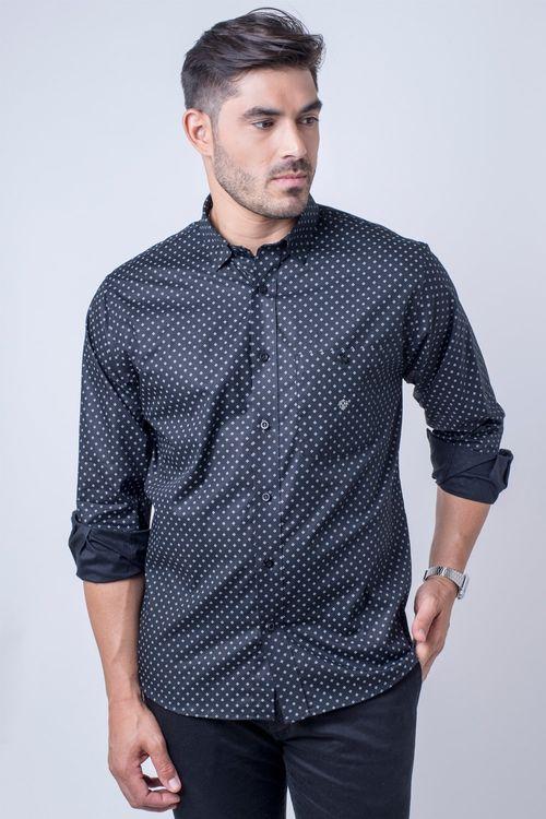 Camisa casual masculina tradicional algodão fio 40 preto f01868a