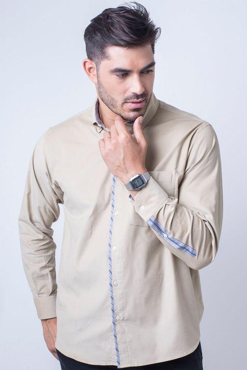 Camisa casual masculina tradicional veludo bege f01529a
