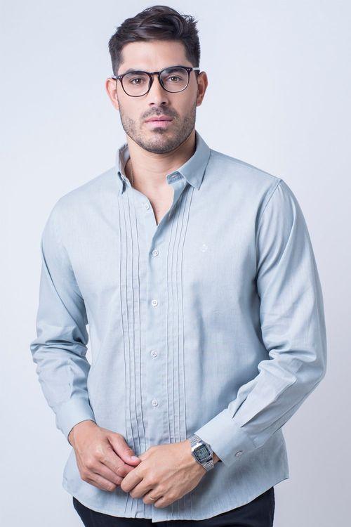Camisa casual masculina tradicional linho misto cinza f01293a