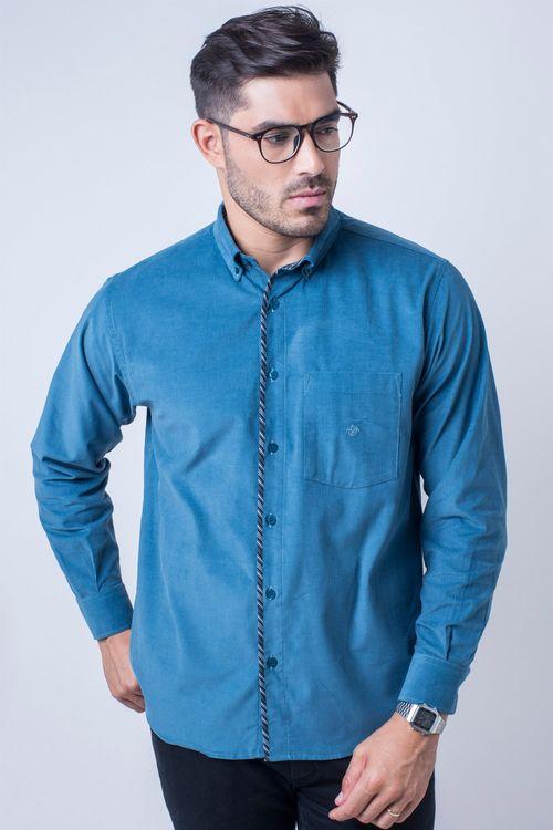 Camisa casual masculina tradicional veludo azul f01529a