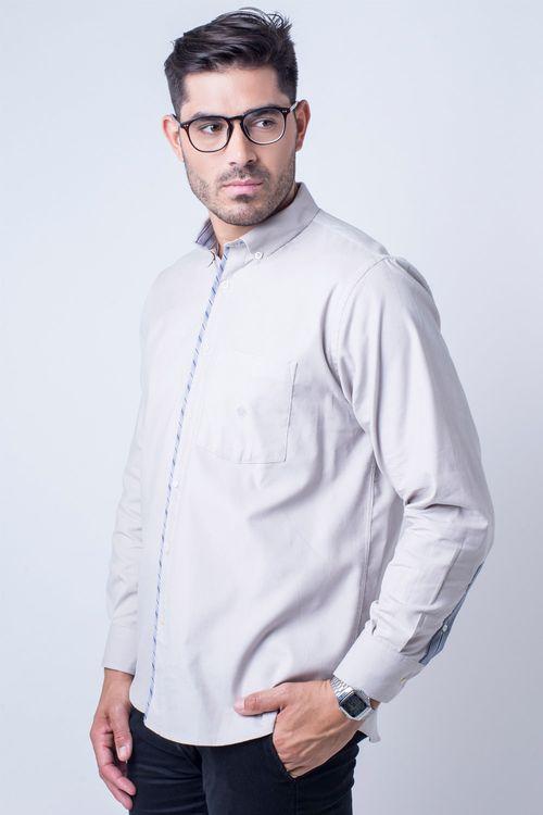 Camisa casual masculina tradicional veludo cinza f01529a