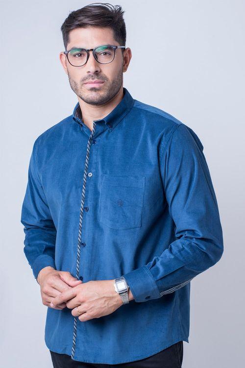 Camisa casual masculina tradicional veludo azul escuro f01529a
