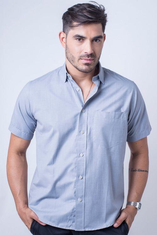 Camisa básica masculina tradicional algodão fil a fil grafite r07060a