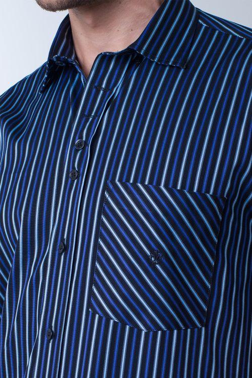 Camisa casual masculina tradicional algodão fio 80 azul escuro f01421a