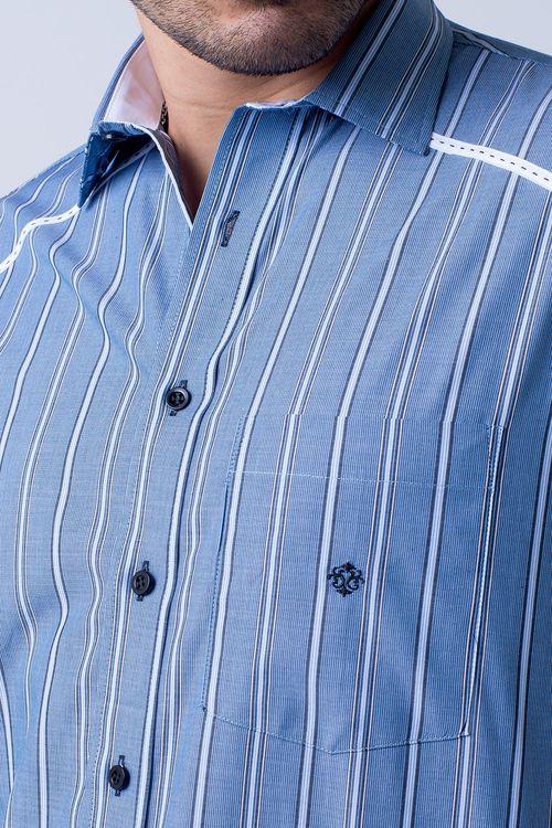 Camisa casual masculina tradicional algodão fio 50 azul f01196a