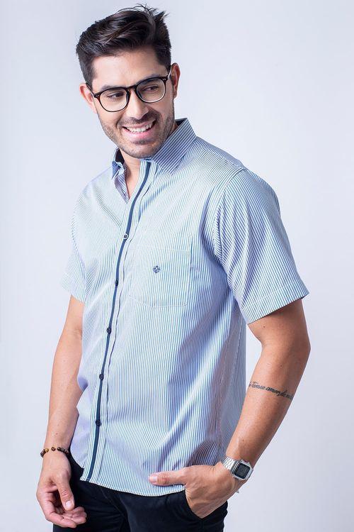 Camisa casual masculina tradicional algodão fio 80 verde f01280a