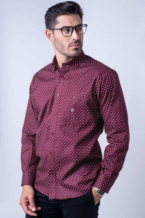 Camisa casual masculina tradicional algodão fio 40 bordo f01868a