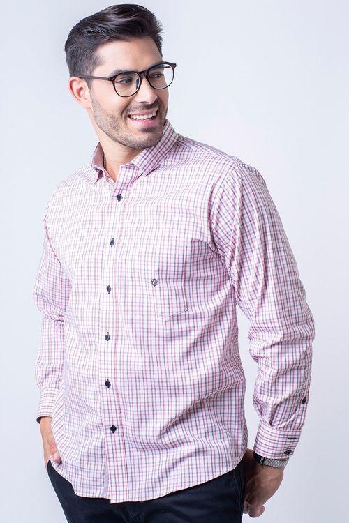 Camisa casual masculina tradicional algodão fio 50 rosa f01410a