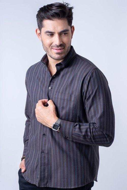 Camisa casual masculina tradicional flanela marrom f01100a