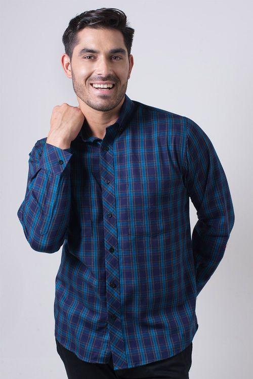 Camisa casual masculina flanela light azul f01842a