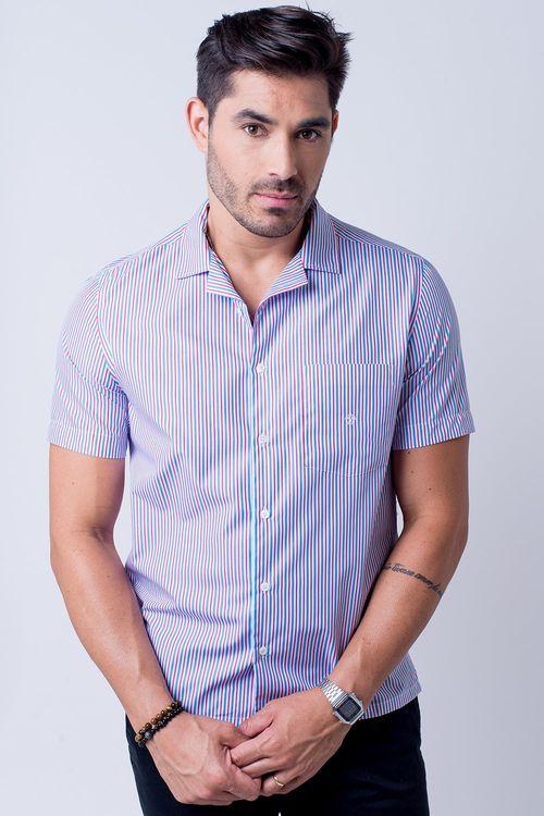 Camisa casual masculina tradicional algodão fio 60 lilás f01506a