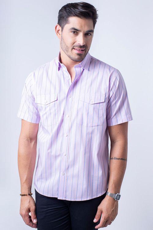Camisa casual masculina tradicional fio 50 rosa f06119a