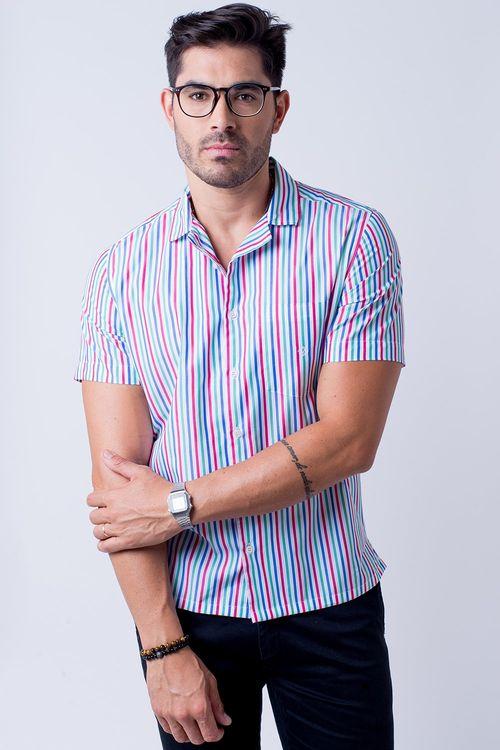Camisa casual masculina tradicional algodão fio 60 salmão f01506a