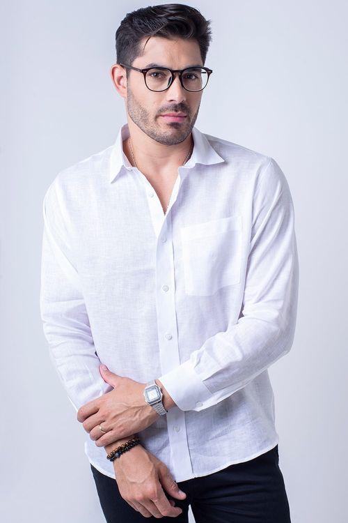 Camisa casual masculina puro linho tradicional branco f03943a