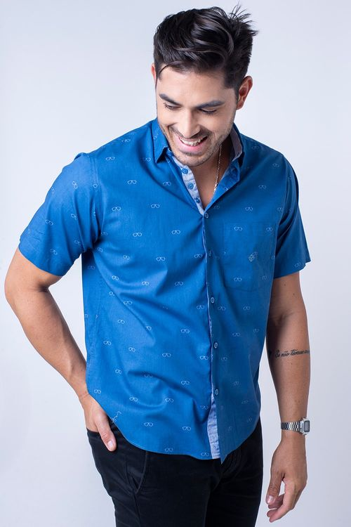 Camisa casual masculina tradicional algodão fio 60 azul f01345a