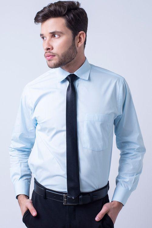 Camisa social masculina tradicional algodão fio 40 azul claro f09936a