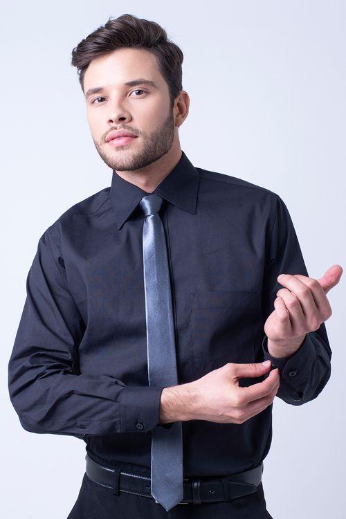 Camisa social masculina tradicional algodão fio 50 preto f08079a