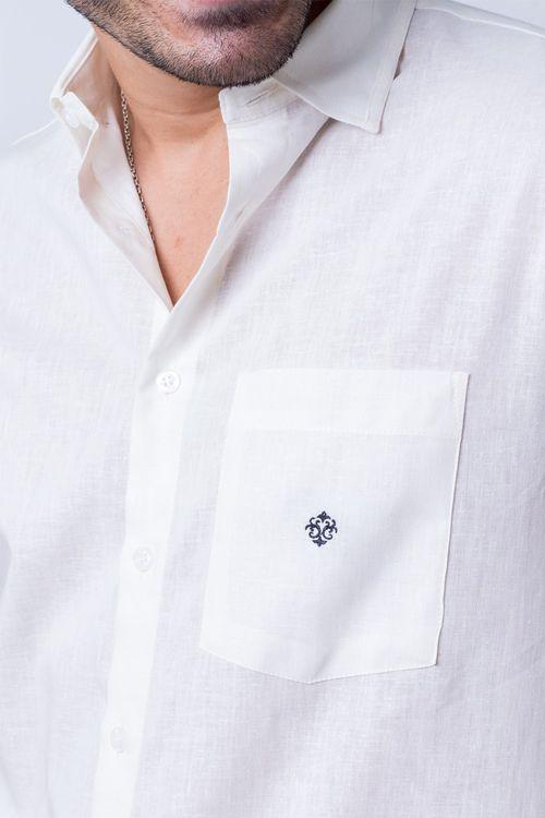 Camisa casual masculina tradicional linho misto creme f01464a