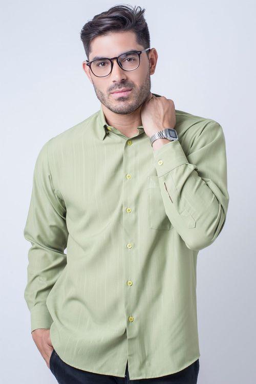 Camisa casual masculina tradicional microfibra verde claro f06208a