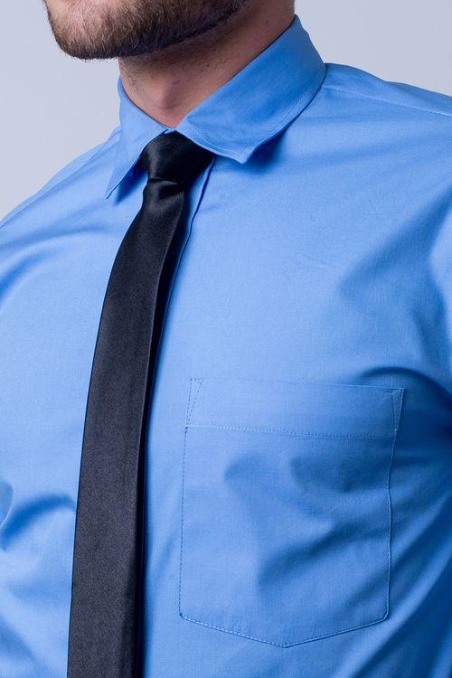 Camisa social masculina tradicional algodão fio 40 azul f09935a