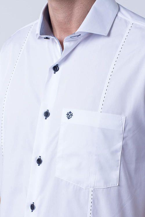 Camisa casual masculina tradicional algodão fio 60 branco f01145a