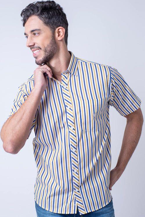 Camisa casual masculina tradicional algodão fio 60 amarelo f01275a
