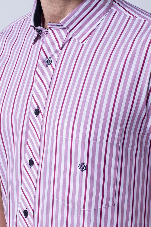 Camisa casual masculina tradicional algodão fio 60 rosa f01275a