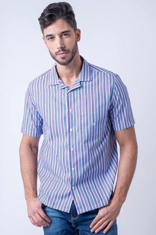 Camisa casual masculina tradicional algodão fio 60 roxo f01506a
