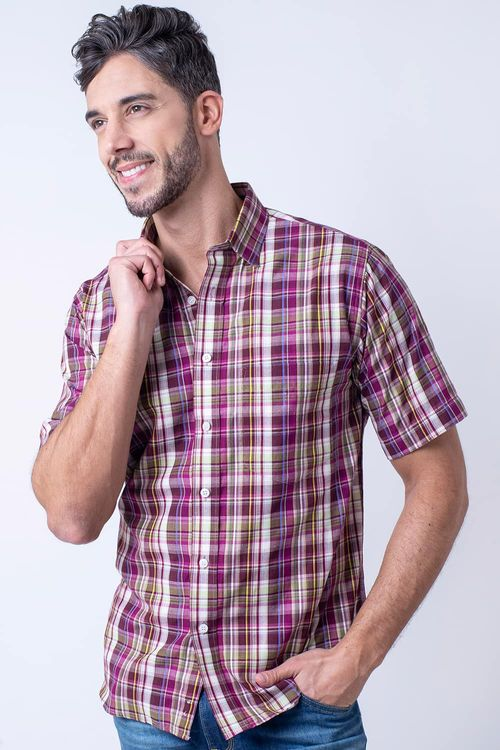 Camisa casual masculina tradicional algodão fio 40 roxo f05527a